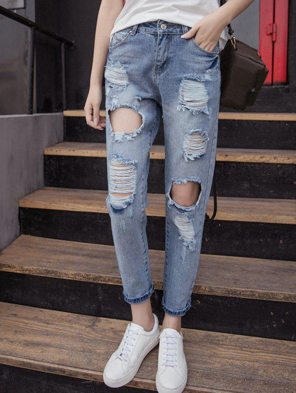 41 Off 2021 Fashionable Busted Knee Pockets Ripped Jeans For Women In Denim Blue Dresslily