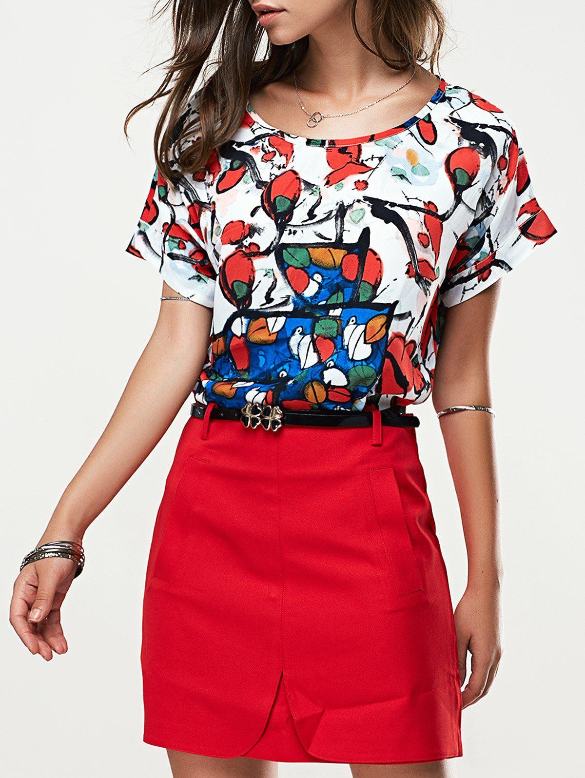 Trendy Short Sleeve Printed T-Shirt + High-Waisted Solid Color Skirt Women's Twinset - RED L