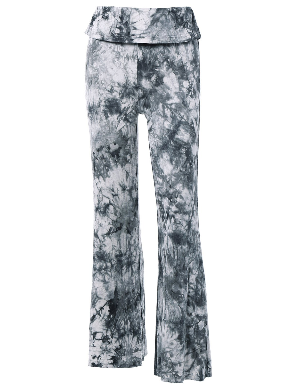 Fashionable Women's High Waist Tie Dye Loose-Fitting Pants - BLACK GREY L