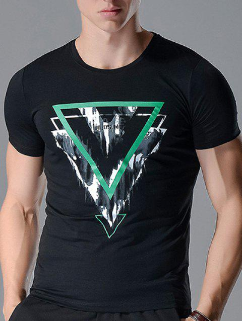 Personality Inverted Triangle Printing Slimming Men's Round Neck Short Sleeves T-Shirt - BLACK L