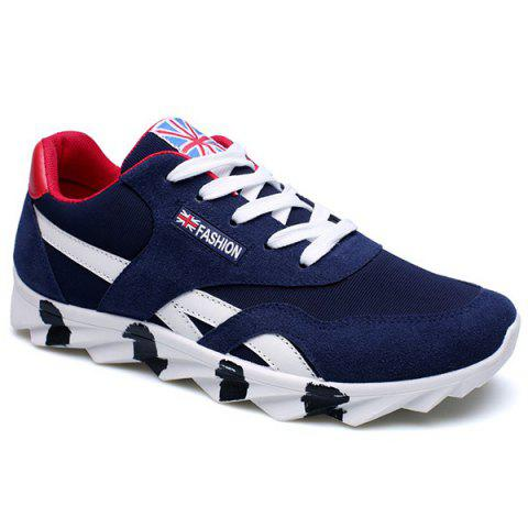 Trendy Color Block and Lace-Up Design Men's Athletic Shoes - NAVY BLUE 44
