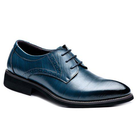 Retro Pointed Toe and Lace-Up Design Men's Formal Shoes - SAPPHIRE BLUE 41