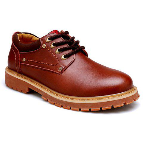 Lace Up Round Toe Casual Shoes - BROWN 40