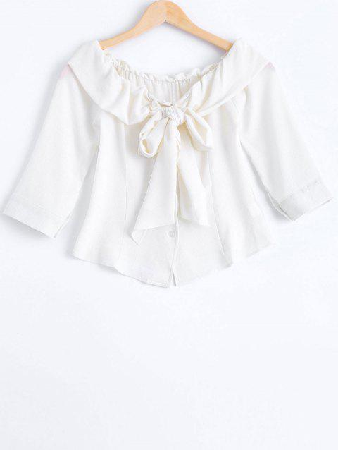 e21de73d60b Fashionable Boat Neck Tie Chiffon Blouse - WHITE ONE SIZE(FIT SIZE XS TO M