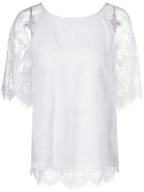 Elegant Round Neck Short Sleeves Panel Lace T-Shirt - WHITE S