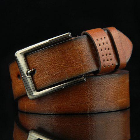 Stylish Pin Buckle Checked Pattern Men's PU Wide Belt - CAMEL