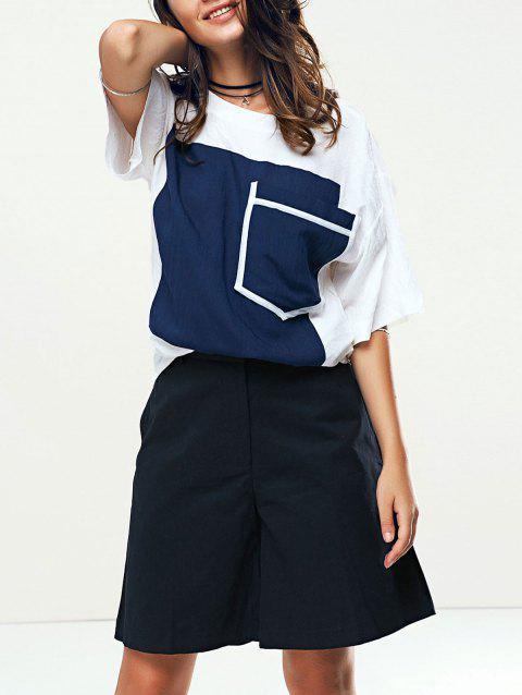 Stylish Women's Color Patchwork T-Shirt and Wide Leg Shorts Twinset - DEEP BLUE M