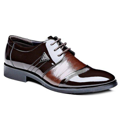 Trendy Patent Leather and Lace-Up Design Men's Formal Shoes - BROWN 41