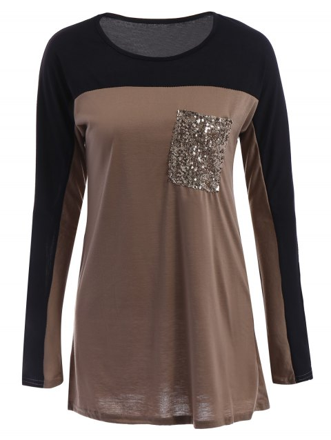 Stylish Sequined Scoop Neck Long Sleeve T-Shirt - KHAKI S
