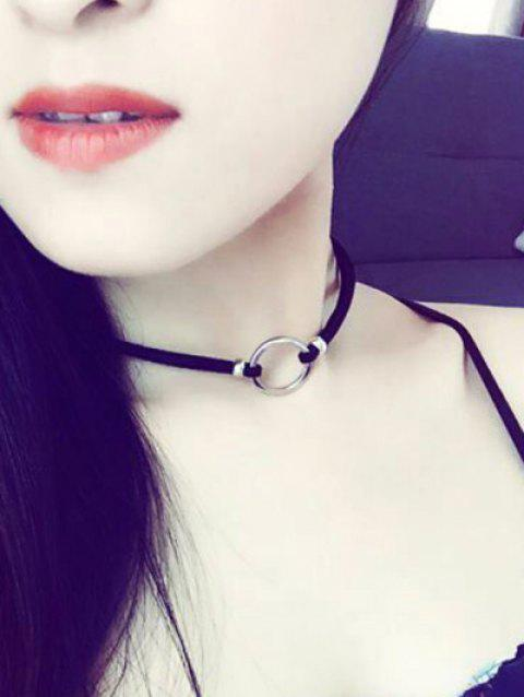 Velvet Circle Chokers Necklace - SILVER