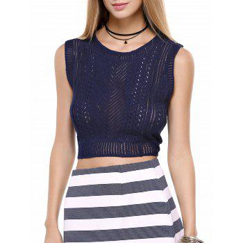 Simple Sleeveless Openwork Pure Color Lady's Top