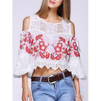 Cold Shoulder Stylish Floral Embroidered Crochet Splicing Women's Blouse