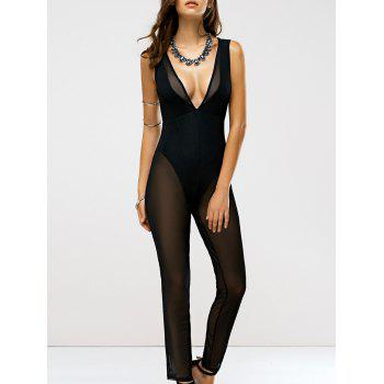 Alluring Plunging Neck See-Through Jumpsuit For Women