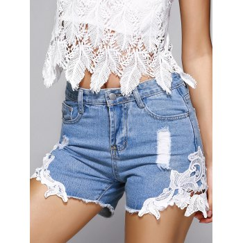 Lace Trim Ribbed Destroyed Denim Shorts