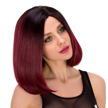 Bob Style Short Synthetic Straight Black Ombre Wine Red Wig For Women - COLORMIX