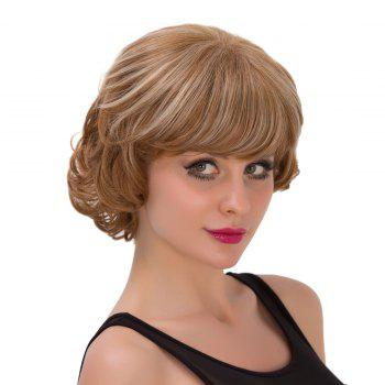 Fluffy Wave Brown Mixed Capless Graceful Short Side Bang Women's Synthetic Wig