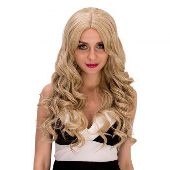 Gorgeous Women's Long Wavy Middle Part Flaxen Synthetic Hair Wig -  SHALLOW FLAXEN