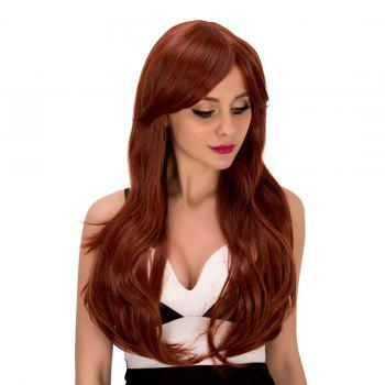 Ladylike Women's Long Wavy Middle Part Auburn Brown Synthetic Hair Wig -  AUBURN BROWN