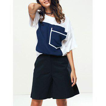 Stylish Women's Color Patchwork T-Shirt and Wide Leg Shorts Twinset