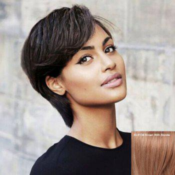 Human Hair Spiffy Short Side Bang Capless Straight Wig For Women - BROWN WITH BLONDE BROWN/BLONDE