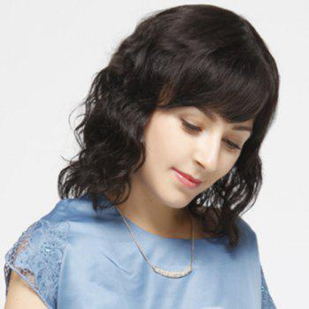 Ladylike Medium Side Bang Capless Fluffy Curly Women's Real Human Hair Wig - JET BLACK