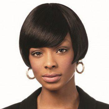 Human Hair Bob Hairstyle Straight Short Capless Wig For Women - JET BLACK JET BLACK
