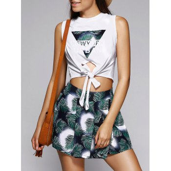 Trendy Letter Crop Top and Front Pleated Shorts Set For Women