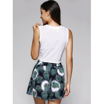 Trendy Letter Crop Top and Front Pleated Shorts Set For Women - WHITE/GREEN ONE SIZE(FIT SIZE XS TO M)