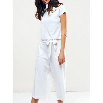 Chic Women's White Cap Sleeves Openwork Blouse and Wide Leg Pants Twinset