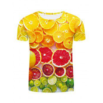 Fashion Round Neck Orange Pattern Fitted Men's Short Sleeves 3D Printed T-Shirt - COLORMIX COLORMIX