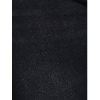 Frayed High Waist Plus Size Jeans - BLACK BLACK