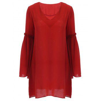 Refreshing Plunging Neck Bell Sleeves  Ruffled Women's Dress