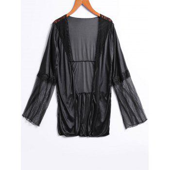 Alluring Plunging Neck Long Sleeve See-Through Solid Color Women's Sleepwear