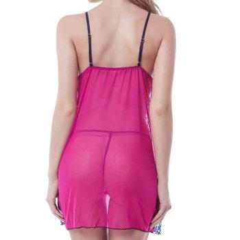 Endearing T-Back and Spaghetti Straps Lace Guipure Babydoll For Women - ROSE MADDER ROSE MADDER