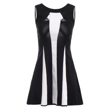Women's Round Neck Color Block Voile Splicing Sleeveless Dress - BLACK ONE SIZE