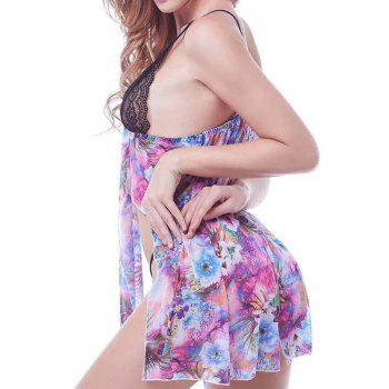 Sweet T-Back and Spaghetti Straps Lace Floral Babydoll For Women - COLORMIX 2XL
