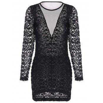 Stylish See-Through Design Long Sleeve Round Collar Mesh Splicing Sequin Dress