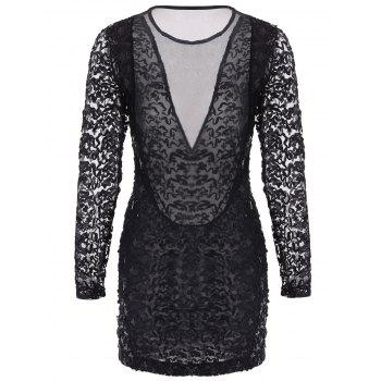 Stylish See-Through Design Long Sleeve Round Collar Mesh Splicing Sequin Dress - ONE SIZE ONE SIZE