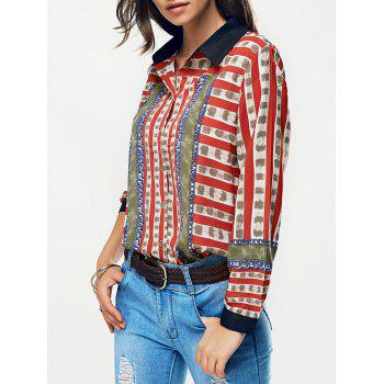 Striped Color Block Chain Print Shirt - RED RED