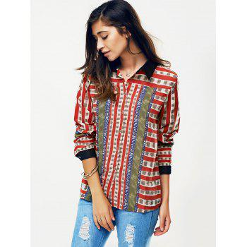 Striped Color Block Chain Print Shirt - RED M