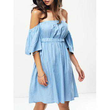 High Waist Off The Shoulder Denim Dress