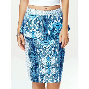 High Waist Blue and White Porcelain Sheath Skirt