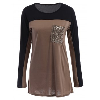 Stylish Sequined Scoop Neck Long Sleeve T-Shirt