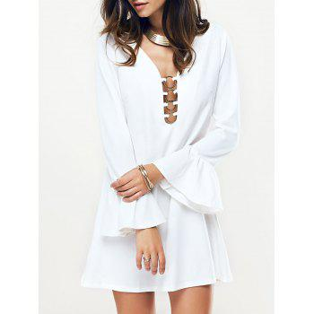Metal Plunging Neck Flare Sleeve Women's Dress - WHITE WHITE