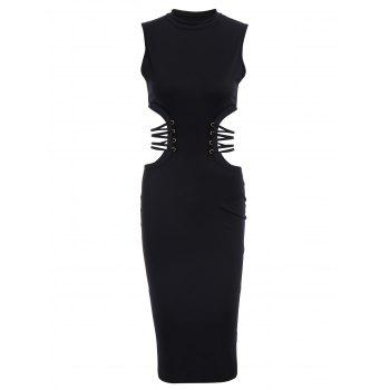 Graceful Black Stand Collar Hollow Sleeveless Dress For Women