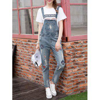 Denim Appliques Ripped Suspender Jumpsuit