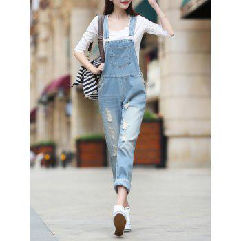 Denim Ripped Suspender Jumpsuit