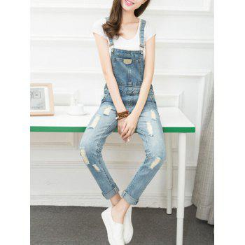 Ripped Denim Suspender Jumpsuit