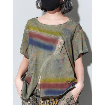 Trendy Short Sleeve Button Design Furcal Tie-Dye Women's T-Shirt