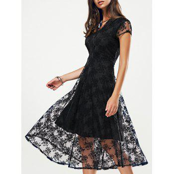 Stylish Women's V-Neck Cut Out Lace Midi Dress